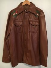 "Vtg 70's Brown ""Leather"" Jacket Medium 43 Male Duds Embroidered Vinyl PVC Jacket"