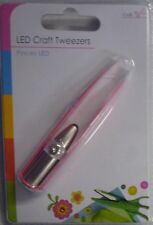 8cm LED Light Up Stainless Steel Coloured Arts & Crafts Tweezers