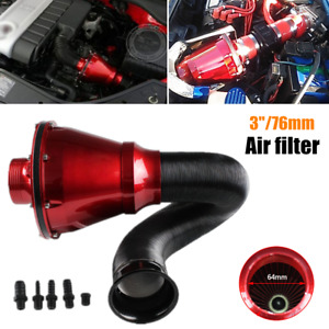 76MM Universal Air Power Intake Filter Car SUV High Flow Cold Air Inlet Cleaner