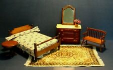 Dollhouse bed room set, bed, rug, plant, drum tables, coffee table, mirror, lot