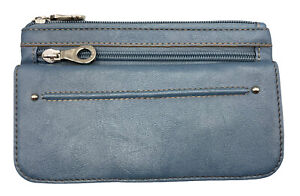 Relic by Fossil Wallet Checkbook Card ID Holder Bifold Wallet Light Blue Silver
