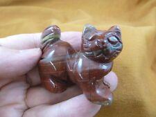 Y-CAT-WA-705) Red Jasper KITTY CAT walk gemstone STONE carving figurine gem cats