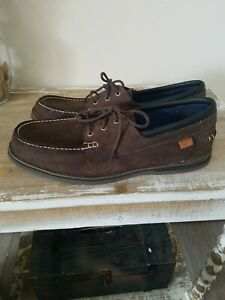 NEW Timberland Ortholite Men's  Brown Leather Boat Shoes Lace-Up Loafers 11