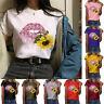 Women Ladies Loose Short Sleeve T Shirt Tops Blouse sunflower Printed Casual Tee