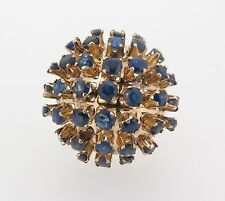 .14CT YELLOW GOLD BLUE SAPPHIRE CLUSTER DOME DRESS RING VAL $6900
