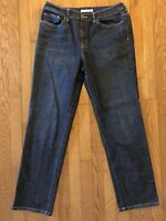 Chico's Platinum Women's Straight Leg Jeans Dark Wash Blue Size 1 (8) Stretch