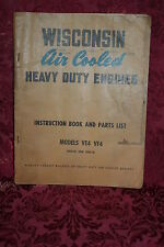 Wisconsin Air Cooled Heavy Duty Engines Instruction Book & Parts List VE4 VF4