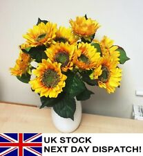 LARGE 5 Heads Artificial Sunflowers Bouquet Posy Floral Flower Home Garden
