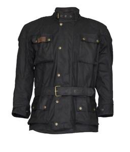 New Burke & Wills Biker Oilskin Coat Adult Biker Jacket Black Coat Leather Trim