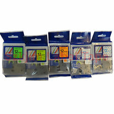 5 x12mm Brother P-touch Compatible Laminated TZ tape Big Discount pack