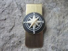 Compass Cameo Gold Plated Brass Money Clip -Father'S Day -Nautical -Naval - Navy