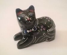magnifique chat en laque,artisanal décoration,collection,kat,poes,cat  *11