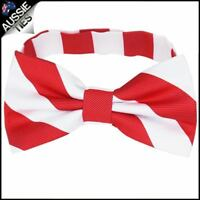 Mens Red & White Stripes Bow Tie