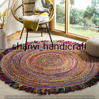 Round Natural & Multi Colour Braided Jute Cotton Rug Reversible Floor Decor Rags