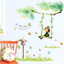 Swing Girl Cherub Butterfly Flower Branch Wall Sticker Decal Art Kids Room Decor