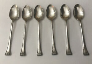 Vintage 6 X Pretty Ornate Deco EPNS Silver Plate 12cm Coffee Spoons Teaspoons