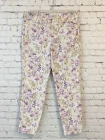 Old Navy Womens Chino Pants Size 8 Pixie Fit Cream Purple Floral Cropped Stretch