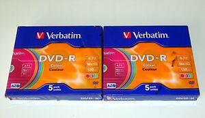 *** LOT DE 10 DVD-R 4.7GB 16X VIERGES VERBATIM AZO COULEUR BOITIERS SLIM ***