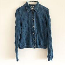 BLUE WILLI'S Women's Sz S Indigo Blue Knit Collared Cardigan Sweater Snap Front