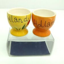 Bosman Holland Egg Cups Hand Painted Cow Floral Ceramic