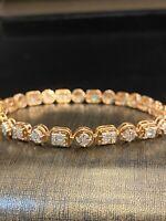 1,55 Cts Runde Baguette Cut Natürlich Diamanten Tennis Armband In 585 14K Gold