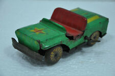Vintage Wind Up Green Color Litho Jeep Tin Toy