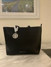 Armani Exchange Women's Leather Shopping Shoulder Tote Bag Black