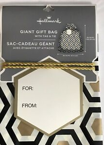 "Hallmark Giant Gift Bag with Tag & Tie Wedding Cream/Black/Gold 36"" x 56"""