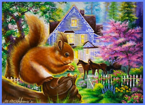 Original Acrylic ACEO PAINTING OOAK by M Mishkova Squirrel Spring Summer Cottage