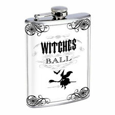 Vintage Witchcraft Witch D5 Flask 8oz Stainless Steel Hip Drinking Whiskey B&W