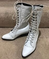 NEW Women's Laredo White Western Tall Lace Up Boots Size 5 Medium Steampunk