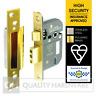 """5 Lever Sash Lock BS British Standard 3621 64/76mm (2.5/3"""")Brass/Stainless Steel"""
