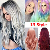 Women Long Straight Wavy Hair Wigs Party Cosplay Vogue Ombre Full Wig Daily Hair