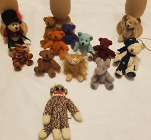 Tiny Stuffed Animals With Bendable Arms And Legs Bears, Tiger, Lion, Elephant &