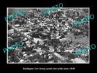 OLD LARGE HISTORIC PHOTO OF BURLINGTON NEW JERSEY, AERIAL VIEW OF THE TOWN c1940