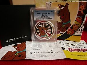 2018 Tuvalu Scooby Doo Cartoon 1 Oz .999 Silver $1 PCGS PR PF 70 Perth Mint OGP