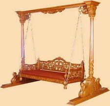 Home Decor New Handcarved Teak Wood Indoor Three-Seater Indian Swing