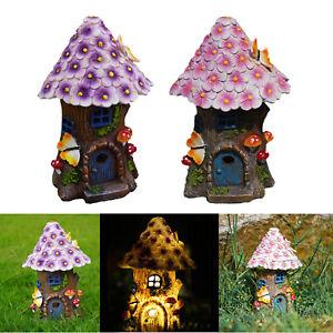 Solar Light Fairy House Miniature Statue Outdoor Garden Lawn Yard Decor Kit