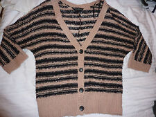 Dorothy Perkins black and beige striped buttoned cardigan. Size 10