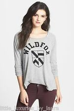 NWT WILDFOX COUTURE PE Coat Of Arms Logo Tissue Jersey Raglan Tee Shirt Small S