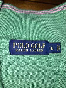 Polo Ralph Lauren Large Pima Cotton Knit Mock Neck GOLF Sweater Green & Pink NEW