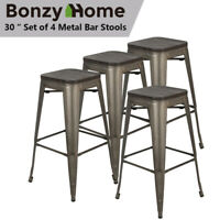 "Set of 4 30"" Metal Dining Chair Bar Stools Seat  Outdoor Stackable Counter Stool"