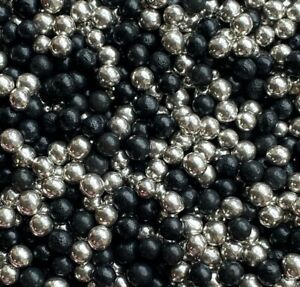 BLACK & SILVER EDIBLE PEARLS SPRINKLES SUGAR BALLS CAKE DECORATIONS 100's 1000's