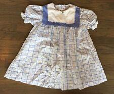 Vtg Sears Blue Outdoor House Beach Novelty Theme Print Girls Dress 4/5