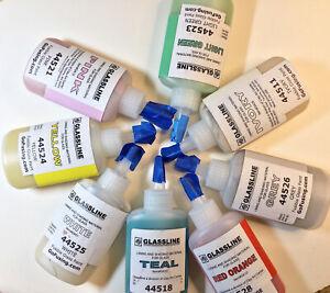 Glassline Pens Glass Paint 2 OZ Bottles Fusing Supplies Colors Fused Glass