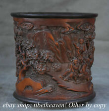 """6.8"""" Old Chinese Bamboo Carving Dynasty Old Man People Brush Pot Pencil Vase"""