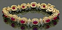 Heavy 14K gold 11.14CTW diamond & 6 X 4mm Oval cut ruby cluster link bracelet