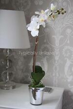 WHITE ORCHID ARTIFICIAL SILK FLOWER POTTED PLANT ARRANGEMENT METALLIC PLANTER