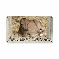 Now I Lay Me Down To Sleep Baby Calf Sleepy Cow Heavy Duty Usa Made Metal Sign