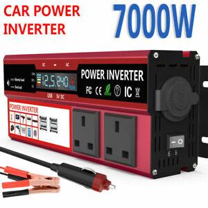 7000W Caravan Van Converter Power Inverter DC 12V To AC 240V LCD 4USB UK Sockets